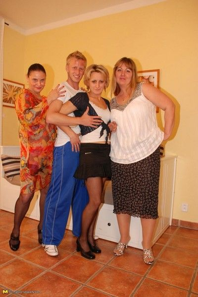 Three party mamas doing one hard cock