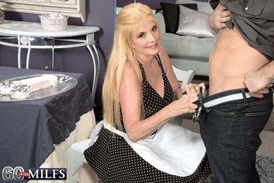 Busty 60milf whore serving a cake and and having a cock