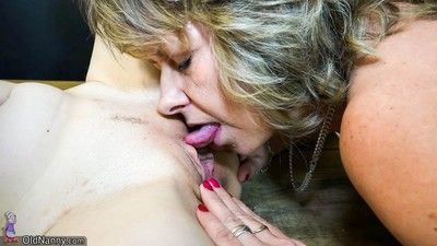 Old lesbian granny and young milf are licking and toying eachoth