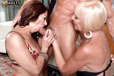 Older lady Renee Black and girlfriend give double BJ in threesome