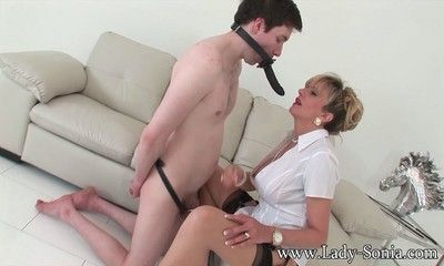 Didlo gag riding mature bitch lady sonia