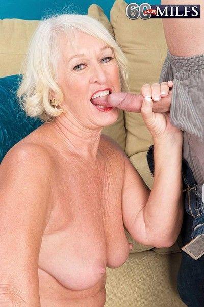 Blond grandma jeannie lou doing a stiff cock