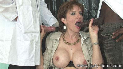 Milf lady sonia and her new black male slave