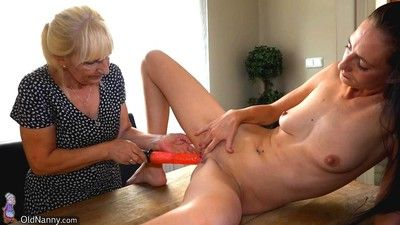 Wrinkled granny and mature moms