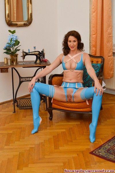 Hot brunette milf lara tease us with her blue latex lingerie
