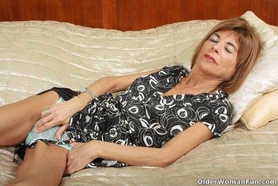 Skinny grandmother maria spreads her legs