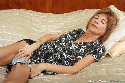 Skinny grandmother maria spreads her legs