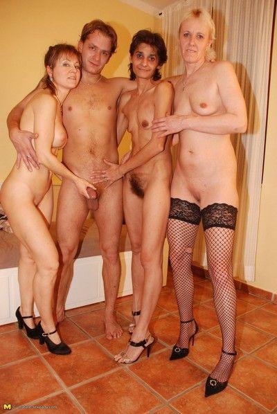 One dude fucking three horny mature sluts