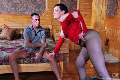 Hot milf in black hose teases a guy while itching for a dosage of man meat