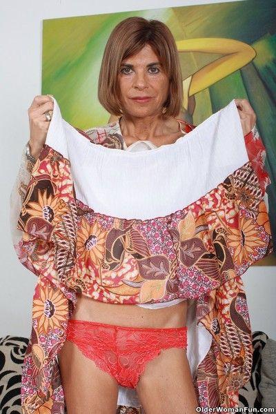 Skinny grandma maria strips off