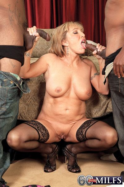 Busty hot 60 milf whore luna azul craving two black cocks