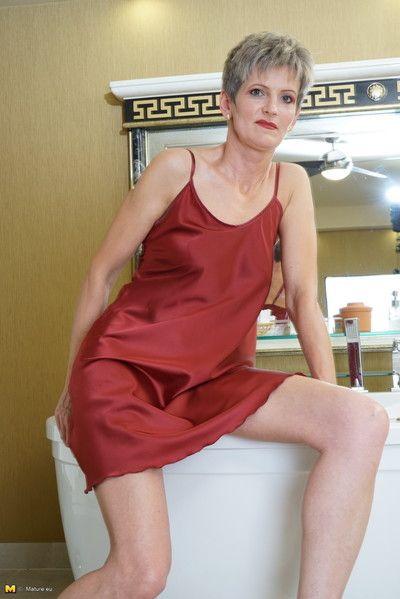 Naughty european housewife taking a naughty bath