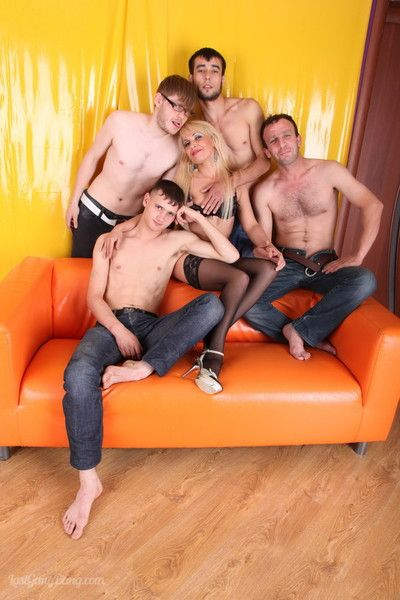 Hot blond milf in a middle of an allhole oldyoung gangbang