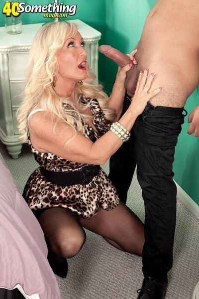 Blonde mature lady fucking and sucking cock