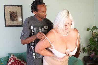 Naughty interracial mature threesome gets wild