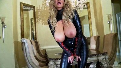 Busty kelly madison in a a way too tight cat suit