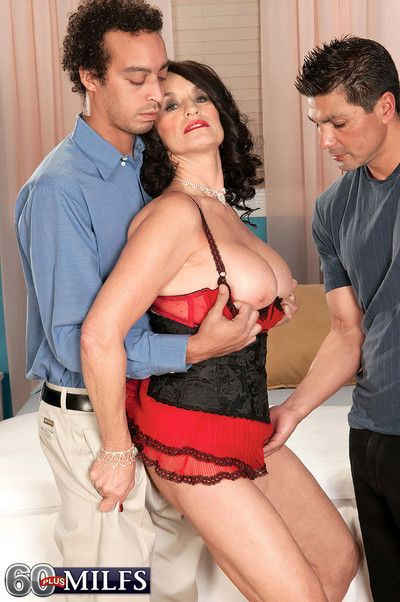 One and only 60 milf rita daniels having two cocks to fuck