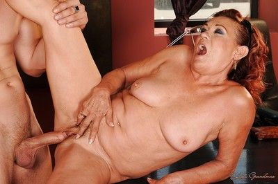 Slutty granny with big tits fucks hardcore and gets come on her boobs