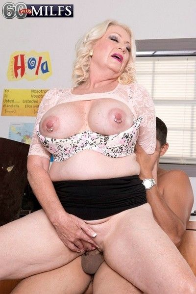 Granny teacher with big oierced boobs fucking