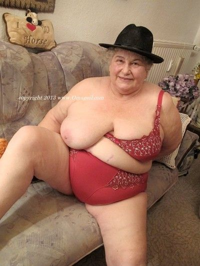 Busty naked old woman have fun