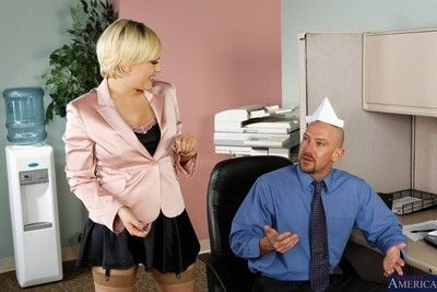 Sexy office slut got nailed on desk