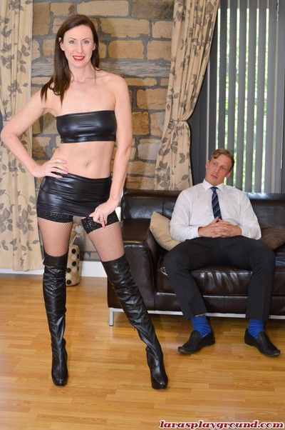 Brunette milf lara latex in boots suck and ride a big schlong ha