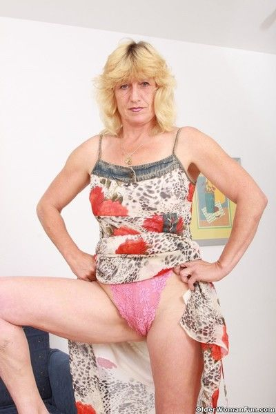 Grandma terry wears a pink thong