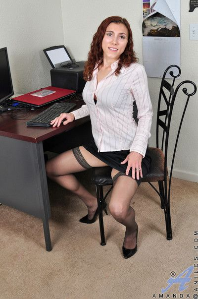 Office babe amanda reveals her super hairy pussy and all natural