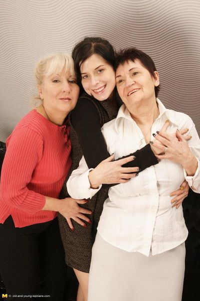 Three old and young lesbians making it hot and steamy