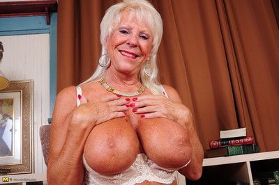 Big breasted american lady playing alone
