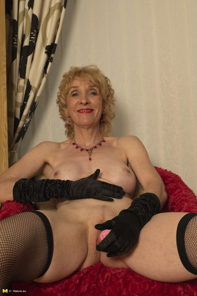Naughty blonde english mature slut stripping down
