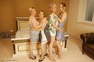 Four old and young lesbians getting wild