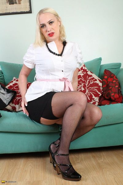 Blonde mature lady with sexy clothes