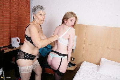 Two naughty british mature ladies go full lesbian