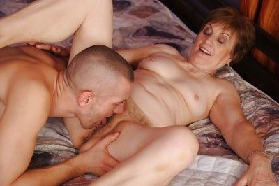 Salacious granny has some hardcore fun with a younger well-hung guy