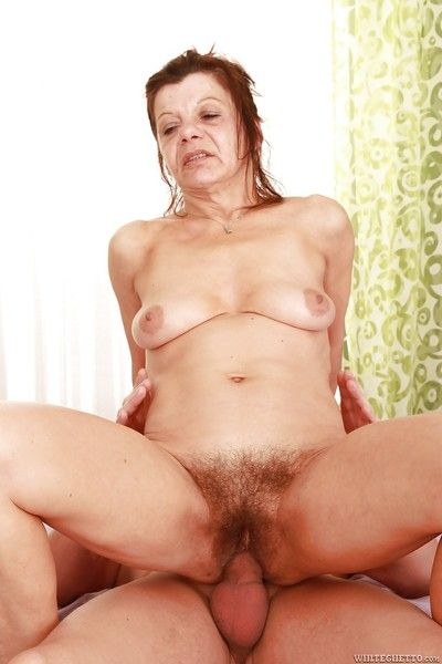Horny granny gets her hairy cunt stuffed with a throbbing meat pole