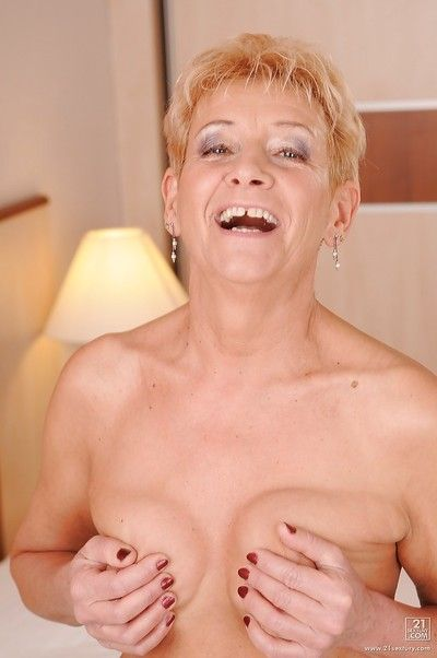Lewd brunette lesbian has some pussy licking fun with a filthy granny