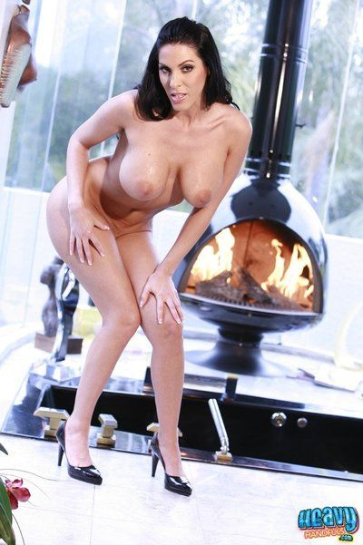 Huge titted latina milf Veronica Rayne with nice curves takes off her lingerie at the fireside
