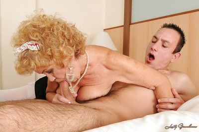 Horny granny fucking a big cock and getting cum all over her face