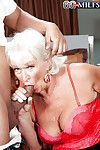 Cock starved granny Jeannie Lou taking cumshots in mouth after DP