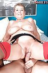 Grandma Joanne Price sticking tongue out for jizz blast after intercourse