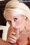 Blonde Euro granny Regi displaying saggy tits while sucking off big dick