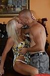 Blonde granny Anett receives a lot of cumshot on her big tits