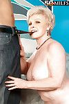 Mature granny Jewel stripping from panties and pleasing erected dick with tits