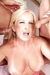 Mature with huge tits Julia Butt hard banged by two horny stallions