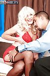 Lovesome granny in red underwear Summeran Winters giving a passionate blowjob