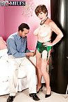 Very seductive and sexy granny Bea Cummins got dresses up in expensive green lingerie and then fucked by well hung young man.