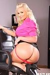 Big titted office blonde Phoenix Marie in pink blouse and black skirt takes off her red underwear
