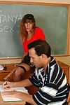 Mature teacher in stockings Katanya gets banged by hairy student in classroom