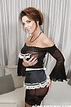Mature maid Deauxma masturbating while showing off massive juggs